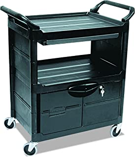 Rubbermaid Commercial Plastic Service and Utility Cart with Cabinet and Sliding Drawer, Black (FG345700BLA)