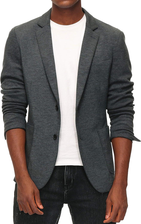 Men's Casual Knit Blazer Suit Jackets Two Button Lightweight Unlined Sport Coat