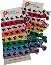 Horse Silhouettes Hair Elastics Ribbon Ties (2 Cards,16 Hair Ties) Girls Equestrianism Horseback Rider Riding Cowgirls Racing Sports No Crease Ponytail Holders Pony Tail Holder Ouchless Ribbon Bands