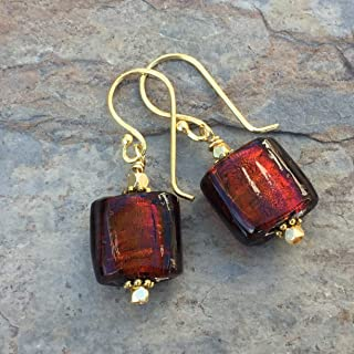 Red Murano Glass Earrings with Gold Vermeil, Red and Gold Earrings, 1.3 inches long