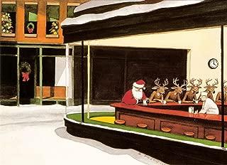 Santa Cafe - Edward Hopper Nighthawks Art Parody Boxed Christmas Cards