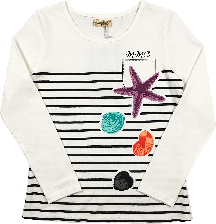 BNY Corner Little Girl Long Sleeve Stripe Casual Cotton T-Shirt Tee Top 2-14