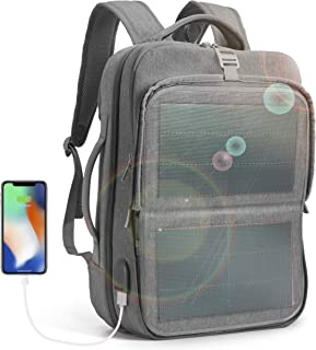 HANERGY Solar Powered Backpack Off-Grid 9W Thin Film Flexible Hidden Solar Panel Business Laptop