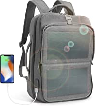 HANERGY Solar Power Backpack 9W Thin Film Solar Panel Business Laptop Travel Bag 2 USB Port (Grey)