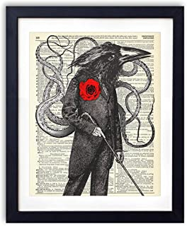 Gentleman Octo-Crow Upcycled Vintage Dictionary Art Print 8x10
