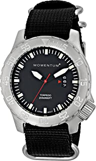 Men's Sports Watch | Torpedo Dive Watch by Momentum | Stainless Steel Watches for Men | Analog Watch with Japanese Movement | Water Resistant (200M/660FT) Classic Watch - Black / 1M-DV74B7B