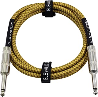 GLS Audio 6 Foot Guitar Instrument Cable - 1/4 Inch TS to 1/4 Inch TS 6-FT Brown Yellow Tweed Cloth Jacket - 6 Feet Pro Co...