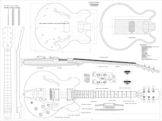 Set of 4 Gibson Electric Guitar Plans - ES-335, CS-356, Les Paul and L5-CES - Full Scale - Actual Size- Making Guitar or Framing BUY ONLY FROM SPIRIT FLUTES -