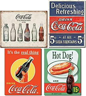 Vintage Coca Cola Tin Signs Retro Bundle - Coca Cola Bottle Evolution, Coke Delicious 5 Cents, Coke Real Thing Bottle and Hot Dog & Coca Cola