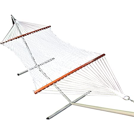 "TWOTREE HAMMOCKS® Hammock with Stand/48"" W X 11ft,Cotton Rope Hammock/13ft Long-Steel Metal Stand-125 KGS Capacity/Balcony/Terrace/Garden/Backyard Furniture Set"