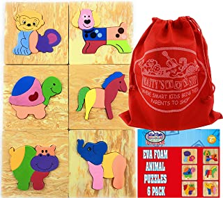 Matty's Toy Stop Deluxe EVA Foam Animal Puzzles Featuring Hippo, Dog, Elephant, Turtle, Monkey & Horse with Storage Bag - ...