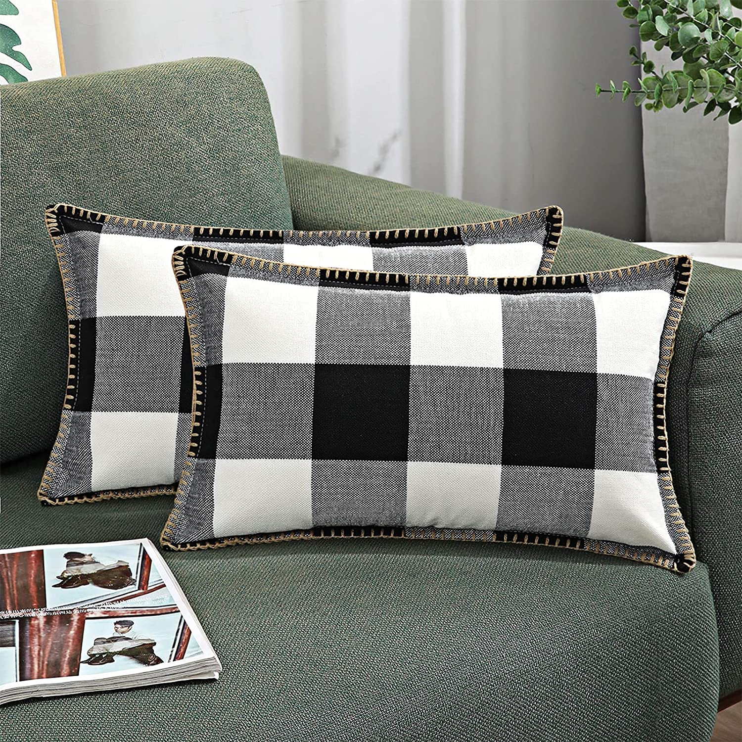 decorUhome Set of Regular store 2 Buffalo Plaid Outlet sale feature Covers Check Throw Farm Pillow
