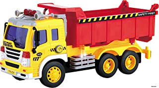 Memtes Friction Powered Dump Truck Toy with Lights and Sound for Kids