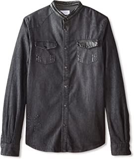 ElevenParis Men's Glass Mandarin Collar Long Sleeve Shirt