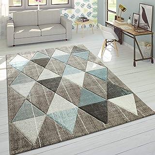 Alfombra De Diseño Moderna Contorneada En Colores Pastel con Rombos Beige Y Azul, tamaño:160x230 cm