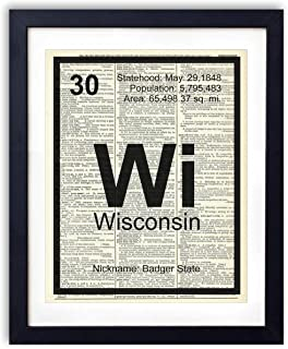 Wisconsin Periodic Table, Vintage Dictionary Art Print, Home State Modern Contemporary Wall Art For Home Decor, Boho Art Print Poster, Country Farmhouse Wall Decor 8x10 Inches, Unframed