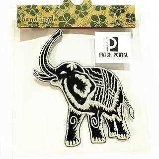 "Patch Portal Thai Elephant Black and White Emblem Logo 5"" Vintage Animals Wildlife Thailand Style Embroidered Iron On Tren..."
