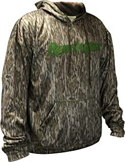 Remington Performance Camo Hoodie for Men - Choose Mossy Oak Bottomland Hoodie or Mossy Oak Shadow Grass Blades Camouflage Hoodie, (S, M, L, XL, XL, XXL, XXXL)