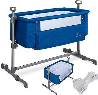 KESSER Zustellbett Hubi 3in1 Baby Beistellbett Reisebett Babybett mit weich Matratze, mit Rollen Kinderbett, 5-fach Höhenverstellung, Faltbare Seitenwand für Zuhause und Unterwegs, Blau