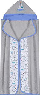 Just Born Hooded Towel, Grey Sail, One Size