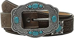 Floral Embossed Turquoise Cross Concho Belt