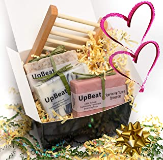 Olive Oil Soap Gift Set for Women & Men-4 Pcs- Natural Soap Bars - Exfoliating Coffee, Cleansing Charcoal, Moisturizing Rose + Wood Soap Dish. Unique Gift Idea under 20. Great Xmas Gifts for Her, Him