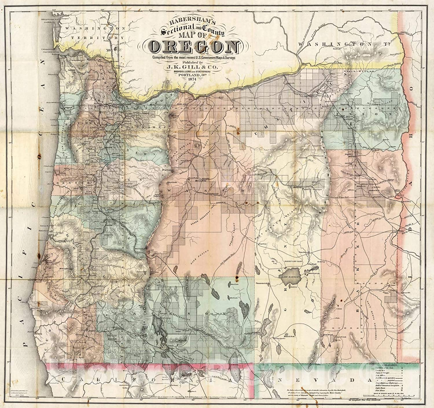 Matted Oregon Map of Oregon Ready to Frame Antique Vintage 1920s Small