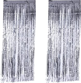 Xena 2 Piece Silver Shiny Shimmering Foil Fringe Door Curtain Window Wall Party Decoration Birthday Holiday Christmas New Years Wedding Party Photography Supplies DIY Photo Booth Accessories 8 Feet