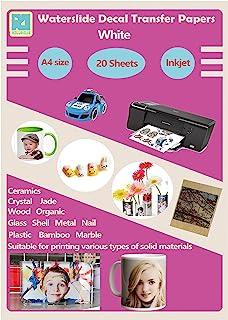 20 Sheets A4 Inkjet Water Slide Decal Tranfer Paper DIY Sheets White