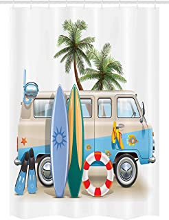 Ambesonne Surf Stall Shower Curtain, Surfing Weekend Concept with Diving Elements Fins Snorkeling and Van Trip Relax Peace, Fabric Bathroom Decor Set with Hooks, 54