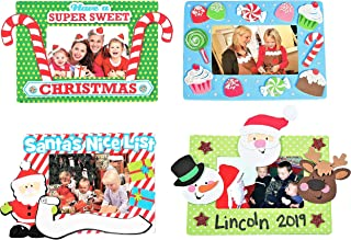 Christmas Holidays Magnet Picture Frame Craft Kit Set - Four (4) Kits - Candy Cane Design, Sweets, Characters, & More! - 6