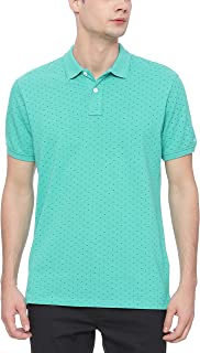 BASICS Muscle Fit Aqua Green Printed Polo T Shirt
