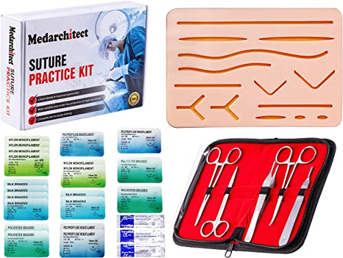 Suture Practice Kit (30 Pieces) for Medical Student Suture Training, Include Upgrade Suture Pad with 14 Pre-Cut Wound...