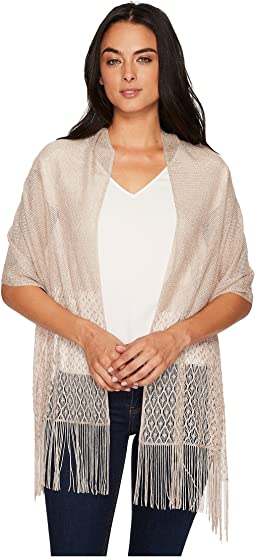 Betsey Johnson Metallic Crochet Wrap w/ Fringe