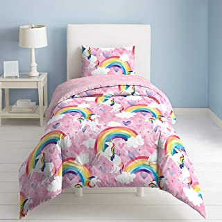 ADASMILE A /& S Unicorn Bedding Girl Magical Cooper Cute Kids Duvet Cover Set with Flowers for Teens or Unicorn Lovers-Twin Size
