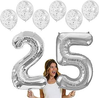 RhinestoneSash 34 inch Giant Silver 25 Foil Mylar Balloon & Set of 6 Matte Silver Confetti Clear Balloons - Silver Anniversary or 25th Birthday Decorations (Silver) Baln(25 Confetti) SLV