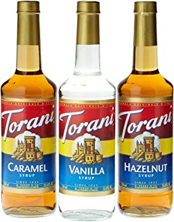 Torani Coffee Syrup Variety Pack - Vanilla, Caramel, Hazelnut, 3-Count, 25.4-Ounce Bottles
