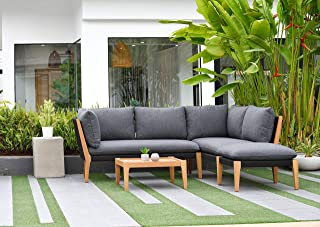 Brampton 5-Piece Outdoor Sectional Set | Teak Finish and Rope Construction with Dark Grey Cushions | Perfect for Patio, Black