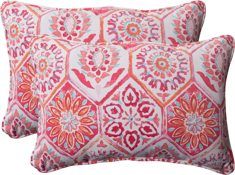 Pillow Perfect Outdoor Summer Breeze Corded Oversized Rectangular Throw Pillow, Flame, Set of 2