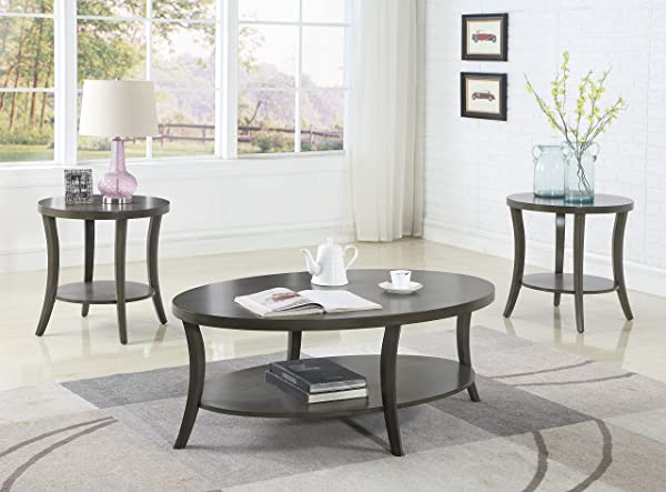 Roundhill Furniture OS0020GY Contemporary Perth Oval Shelf Coffee Table Set Grey
