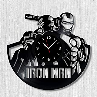 Iron Man Vinyl Record Clock - Wall Clock Iron Man - Best Gift for Avengers Lover - Original Wall Home Decor (Vinyl Clock 2)