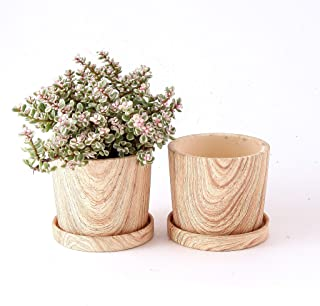 JODA 6 inch Ceramic Planter Pots, Flower Pots with Saucer, Indoor Plant Pots with Drainage - Set of 2 (Wood Grain Pattern)