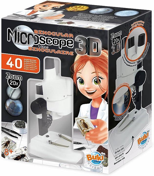 Microscopio per bambini buki france stereo 3d microscopio binoculare, multicolore, mr500