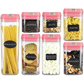Airtight Food Storage Containers – 7 pc Set - Shatterproof Plastic Food Containers - Pink Airtight Lids – BPA Free Food Storage Boxes for Kitchen Pantry, Includes 24 Chalkboard Labels and Marker
