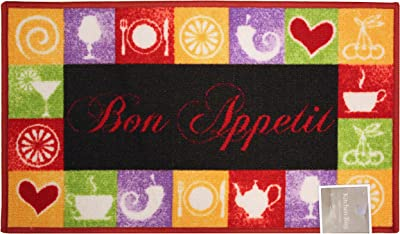 """Kashi Home Rectangle Mat with Latex Back Bon Appetit Collection Kitchen Rug, 20"""" by 40"""""""