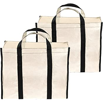 Storite 2 Pack Reusable Canvas Grocery Shopping Bags with Reinforced Handles (38x32x17 cm, White)