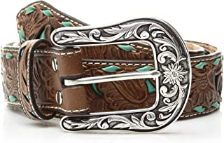 Nocona Belt Co. Women's Turquoise Inlay Buck Belt, brown
