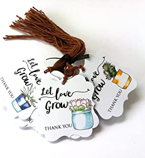 Let Love Grow Succulent Thank You Favor Hang Tags for Wedding Baby Shower Party - Set of 24