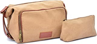 Premium Toiletry Travel Bag Set - Women & Mens Toiletry Bag. Handmade Waterproof Canvas Including 1 Large Bag and 1 Micro Bag. Sturdy Zippers and Construction. PU-Leather Accents