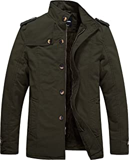 Men's Cotton Stand Collar Jacket with Fleece